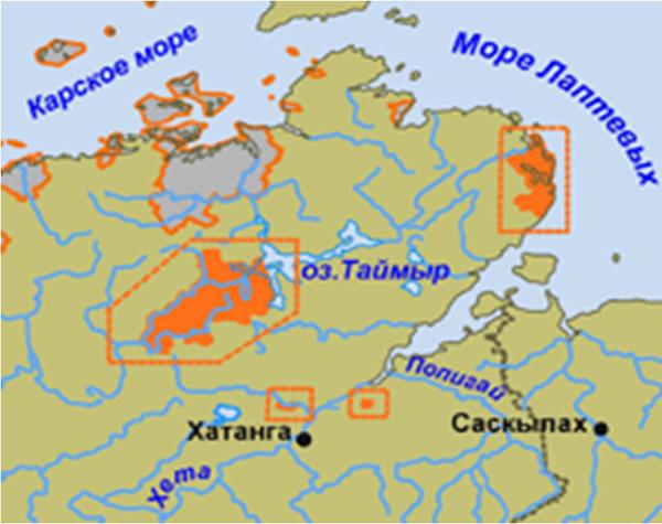 Озеро таймыр на карте где находится